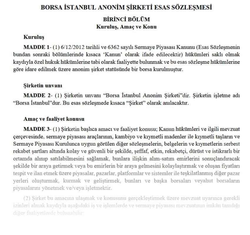 Borsa İstanbul Esas Sözleşmesi